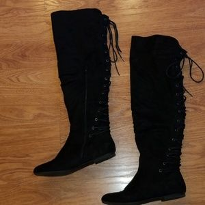 Just Fab Marian Black Over the Knee Lace Up Boots